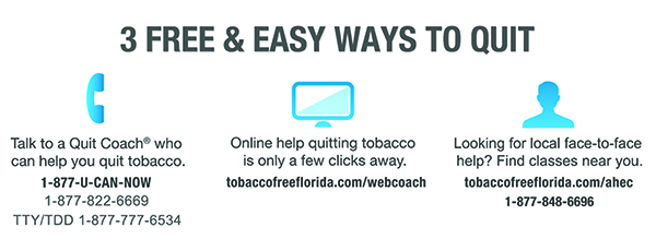 Tobacco Free Florida offers 3 Ways to Quit