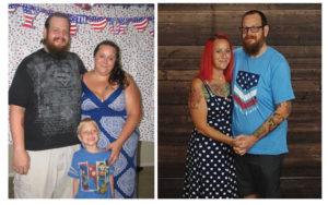 Maggie and Jason LeGrange before (left) and after metabolic/ bariatric surgery. After surgery, Maggie was able to conceive and deliver two more children after years of infertility caused by obesity.